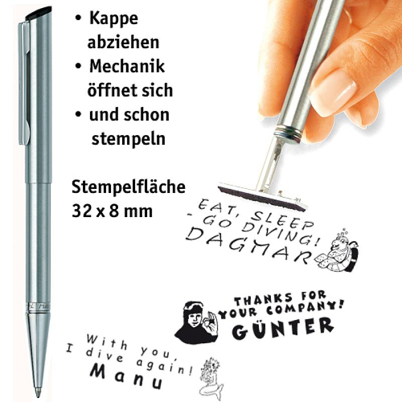 Edelstahl-Stempelkugelschreiber silber
