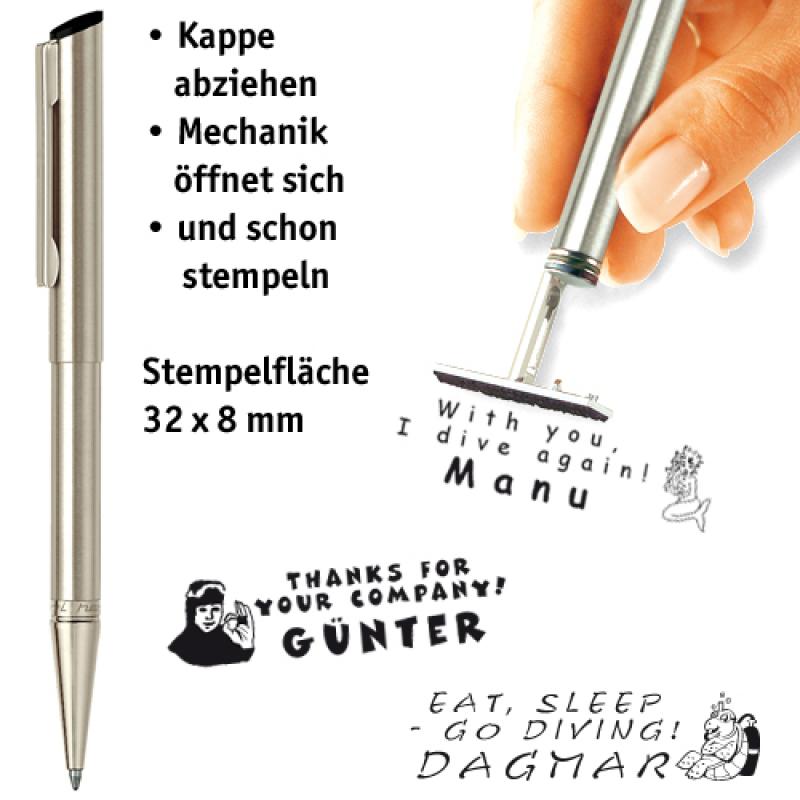 Edelstahl-Stempelkugelschreiber
