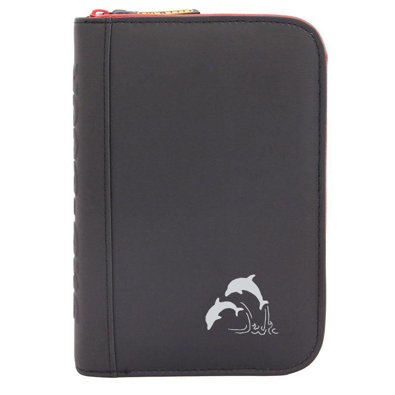 TRAVEL sub-book, schwarz mit rotem Reissverschluss, Delfine, mit Innenteil