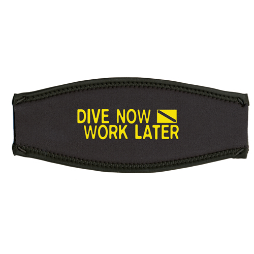 Maskenband, dive now - work later, gelb