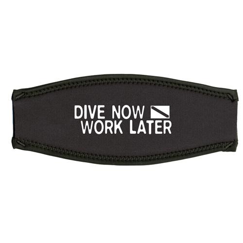 Maskenband, dive now - work later, weiss